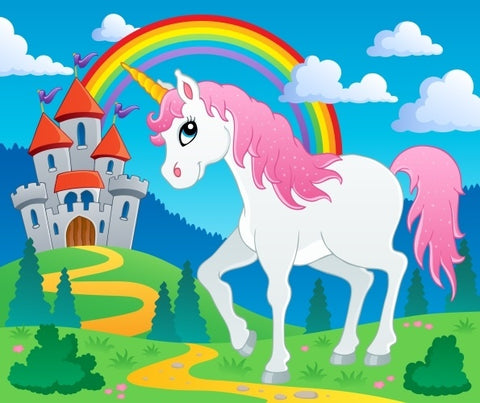 drawing Beautiful unicorn in front of a castle and a rainbow