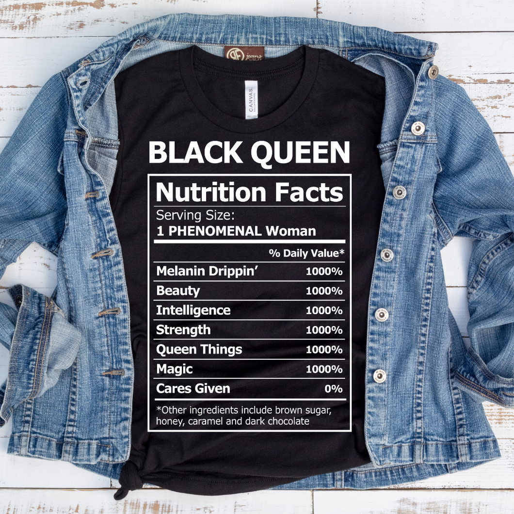 Black Queen Nutrition Facts - Black Tee