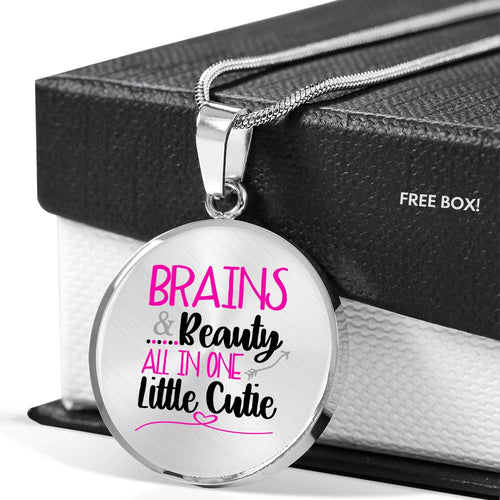 Brains & Beauty All In One Little Cutie Circle Necklace