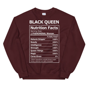 Black Queen Nutrition Facts - Sweatshirt