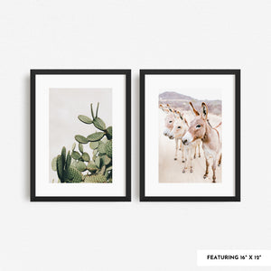 Two 16 x 12 framed art prints side by side on a white wall.