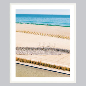 A fine part print featuring Baja beaches in a white frame.