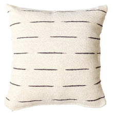 Load image into Gallery viewer, An ivory throw pillow with black stripes, handwoven with wool in Guanajuato, Mexico..