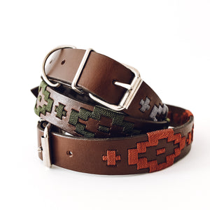 Three leather dog collars handmade in Mexico.