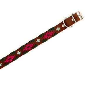 Leather dog collar made in Mexico with metal buckle and clasp and multi-colored woven design.