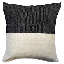 Load image into Gallery viewer, A black and ivory wool throw pillow, handwoven in Guanajuato, Mexico.