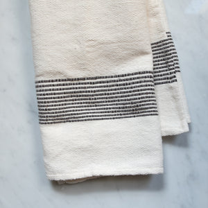Oaxaca Hand Towel - Cream with Gray Stripes