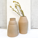 A pair of ceramic terra-cotta vases paired with dry floral stems.