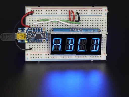 Quad Alphanumeric Display - Blue 0.54 Inch Digits W/ I2C Backpack (Id: 1912) - Led Displays