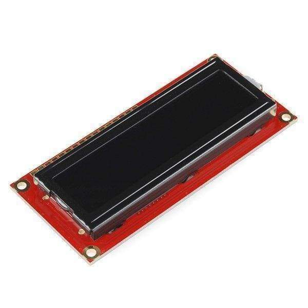 Red on Black 16x2 LCD Display - 5V (LCD-00791) - LCD Displays