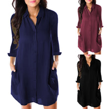Load image into Gallery viewer, Women Loose Solid Dresses Turn Down Casual Ladies Office Shirt Dresses Button 2019 Summer Spring Long Sleeve Dresses Vestidos