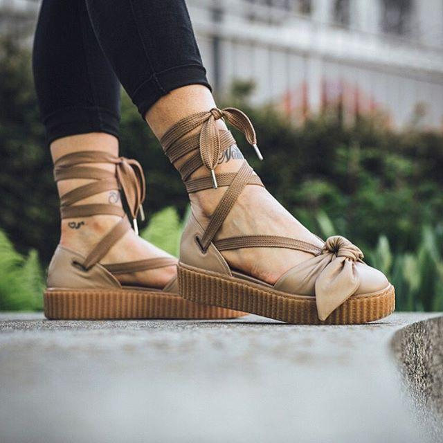 new styles 991ff 9cbdb Puma Fenty x Rihanna Bow Creeper Sandals 'Natural/Oatmeal'