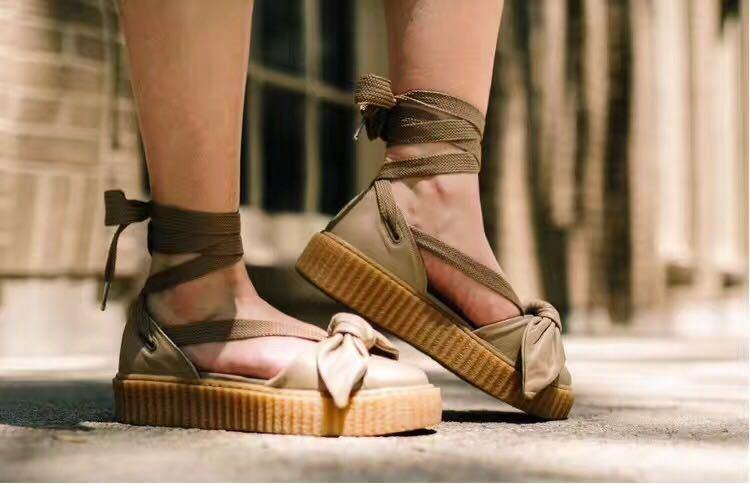new styles 5e52d af777 Puma Fenty x Rihanna Bow Creeper Sandals 'Natural/Oatmeal'