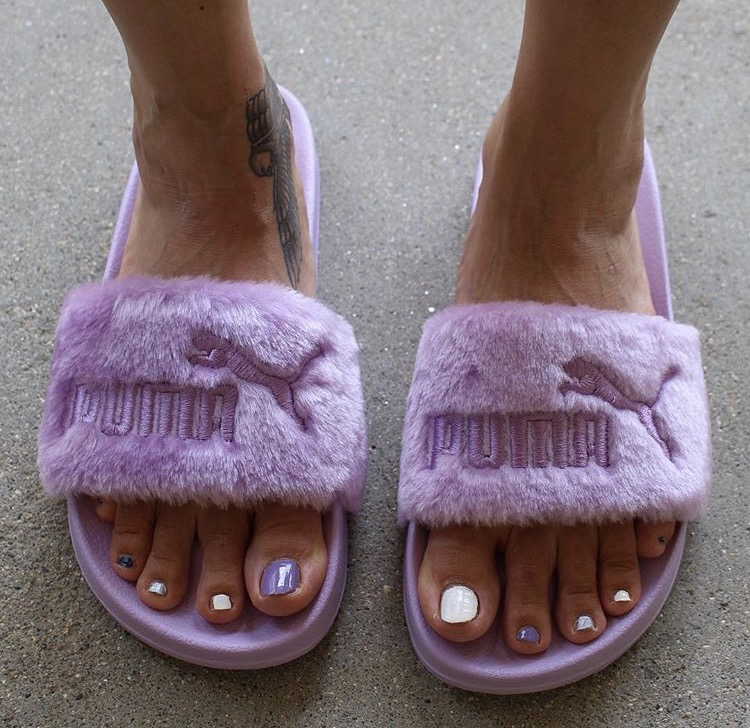 new style 5ae8d 894e0 Puma Fenty by Rihanna 'Leadcat Fenty' Faux Fur Slide
