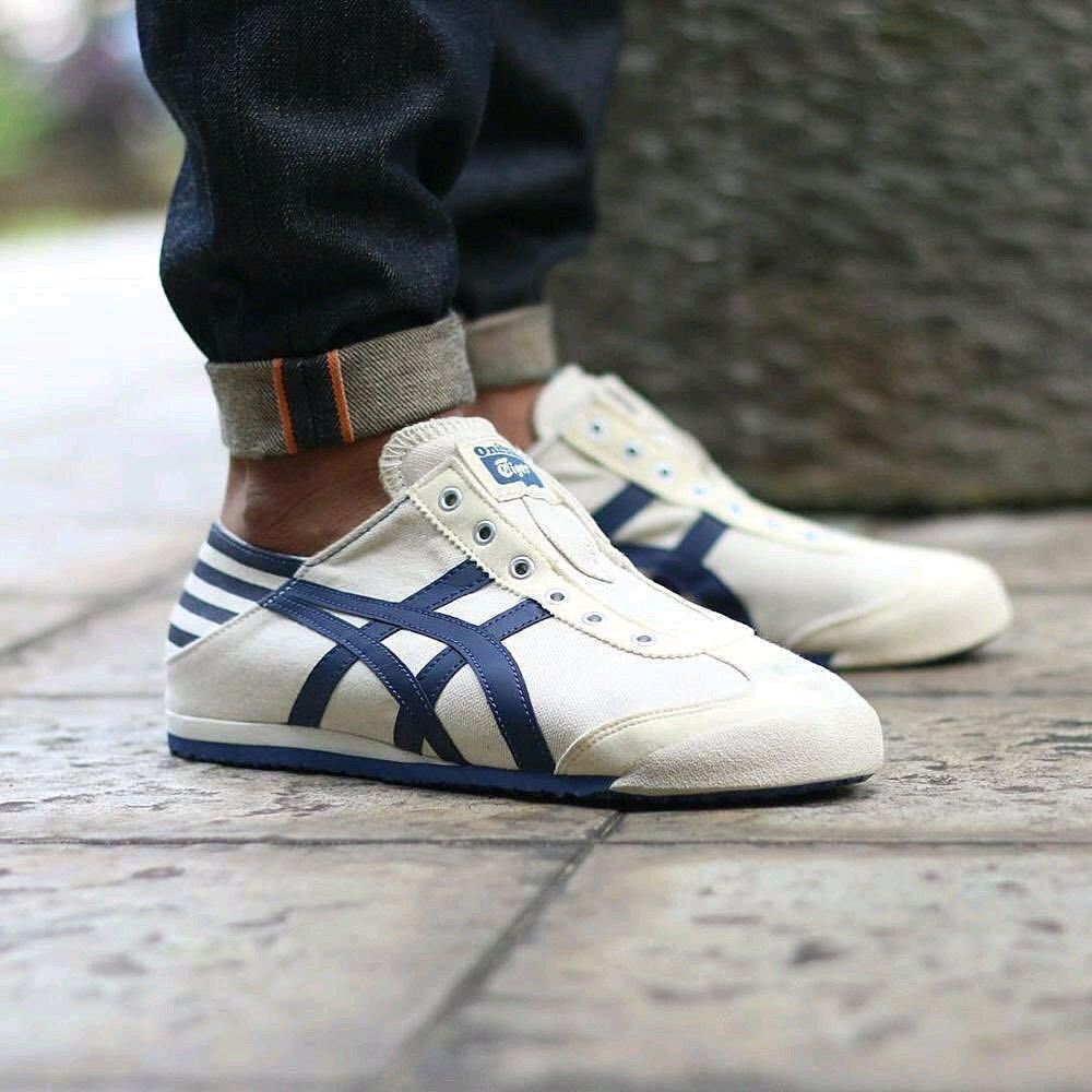 Onitsuka Tiger Mexico 66 Slip On Paraty Cream White Natural Blue
