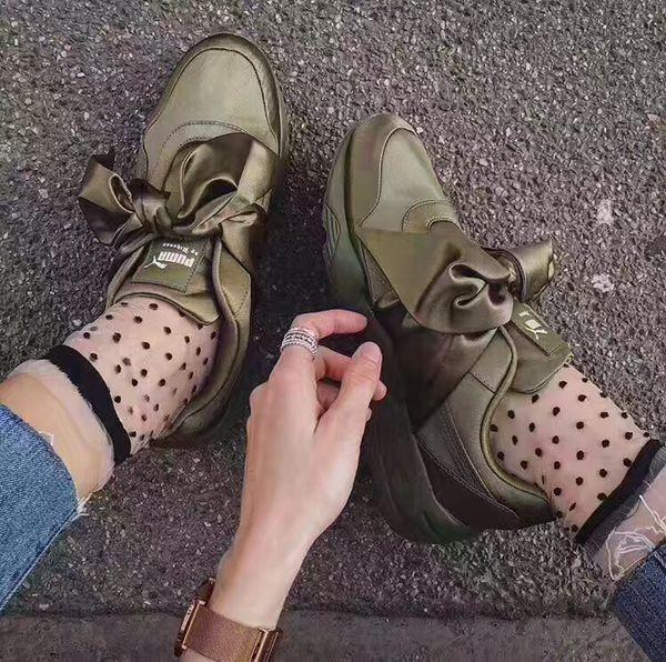 The Puma x Fenty by Rihanna Bow Sneaker in Olive Branch