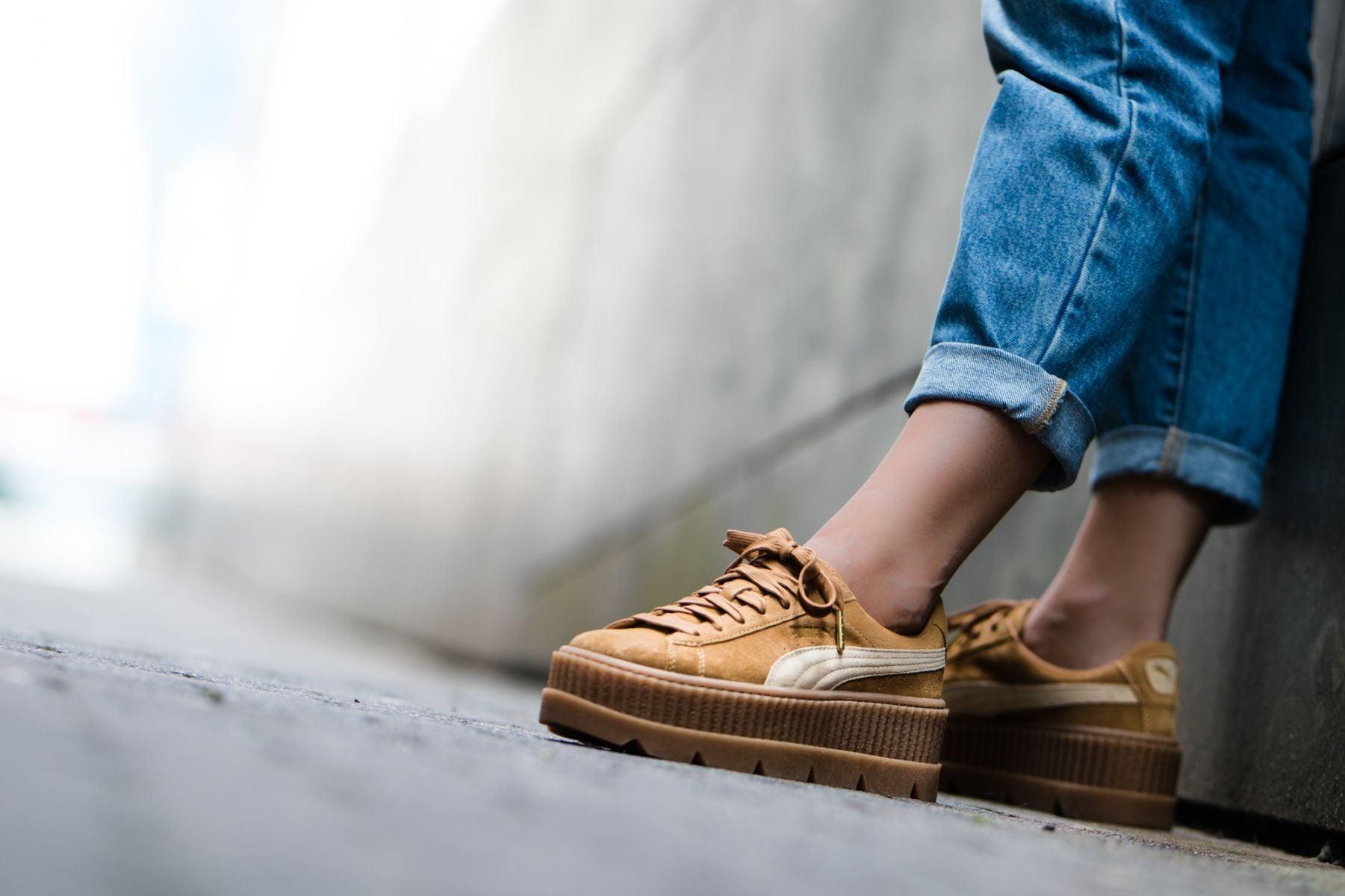 Puma Shoes | Fenty Suede Cleated Creeper Golden Brown | Poshmark