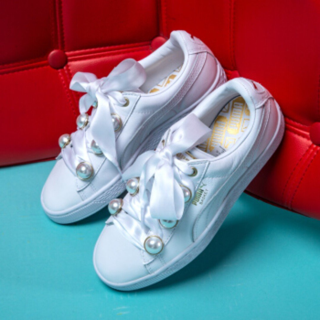 sneakers closer at variety styles of 2019 Puma Basket Bling White