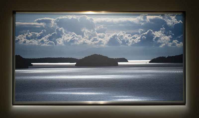 "Gulf Islands, BC / Framed / Edition of 1 / 48"" x 89"" / Archival Pigment Print"