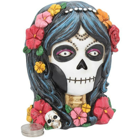 Mexican Money Box 'Day Of The Dead' 'La Calaveras' Sugar Skull Girl With Flowers - Kellyuk