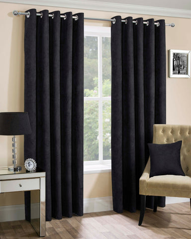 Faux Suede Eyelet Ring Top Pair Of Lined Curtains In Black Chocolate Mink Silver - Kellyuk