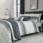 Striped Charcoal Multi Cotton Rich 200 TC Floral Reversible Duvet Cover Bedding - Kellyuk