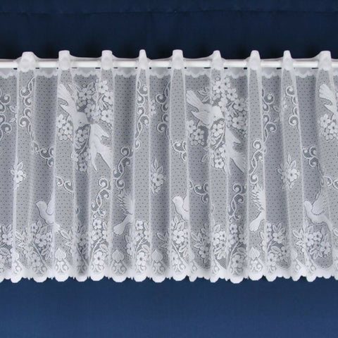Love Birds Floral Panel White Lace Cafe Net Curtain - SOLD BY THE METRE - Kellyuk