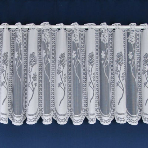 Juniper Traditional Floral Panel White Lace Cafe Net Curtain - SOLD BY THE METRE - Kellyuk