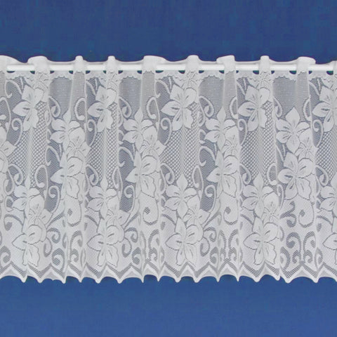 Lynsey Traditional Floral Flowers White Lace Cafe Net Curtain SOLD BY THE METRE - Kellyuk