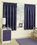 Childrens Kids Blockout Tape Top Curtains With Moon & Stars Design In Blue, Pink - Kellyuk
