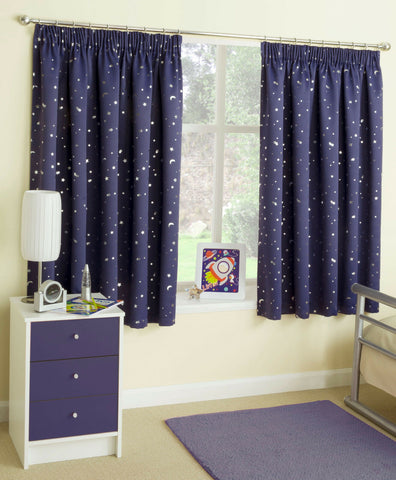Childrens Kids Blockout Tape Top Curtains With Moon & Stars Design In Blue, Pink - Kellys Soft Furnishing