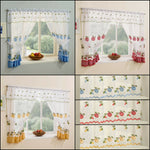 Kitchen Window Net Curtains Set With Apple & Cherry Embroidery & Gingham Trim - Kellyuk