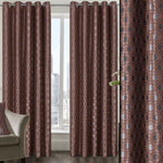 Terracotta Modern Ring Top Eyelet Pair Curtains With All Over Geometric Design - Kellyuk