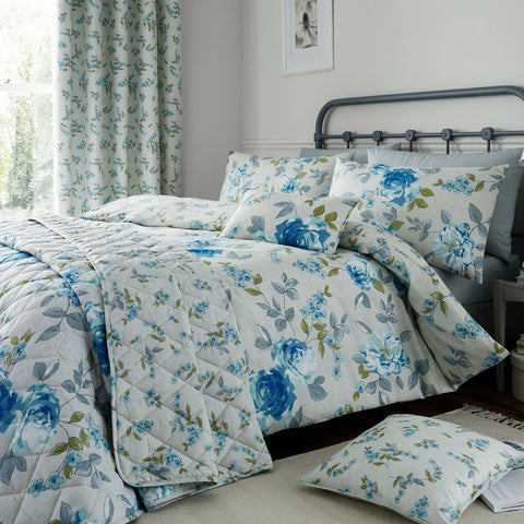 Blue Cotton Rich 200 TC Floral Reversible Duvet Cover Bedding Machine Washable - Kellyuk