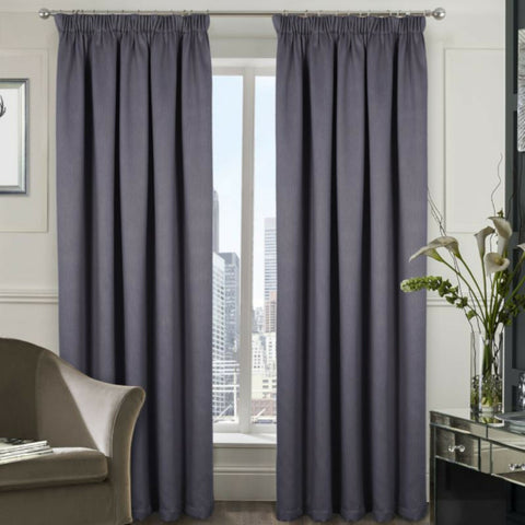 Berlin Blackout Thermal Tape Top Woven Textured Curtains - Bedroom & Livingroom - Kellyuk