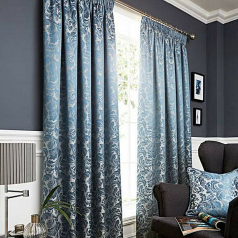 BUCKINGHAM DAMASK TAPE TOP LINED CURTAINS IN DUCK EGG, GREY OR NATURAL - Kellys Soft Furnishing