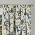 Floral Print Half Panama Lined Tape Top Modern Curtains In Blue Or Terracotta - Kellyuk