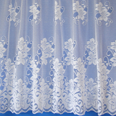 Lyndsey Floral Value & Quality New White Lace Net Curtains - SOLD BY THE METRE - Kellyuk