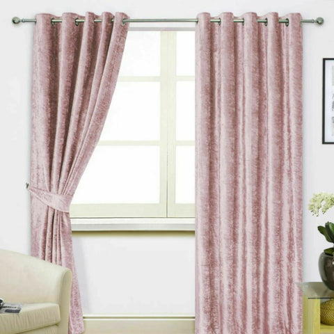 Blush Pink Luxury Crushed Velvet Ring Top Pair Of Lined Curtains. FREE UK P+P - Kellyuk