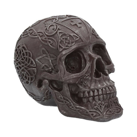 Celtic Iron Grey 16cm Skull Figurine Ornament With intricate Celts Patterns - Kellyuk