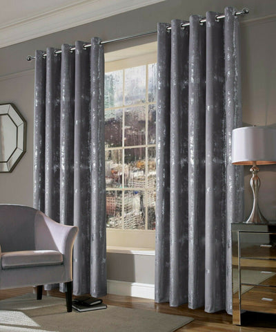 Margo Silver Grey Metallic Velvet Ring Top New Curtains With Thermal Interlining - Kellyuk