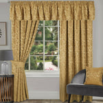Gold Traditional Damask Jacquard Pair Of Tape Top Pencil Pleat Lined Curtains - Kellyuk