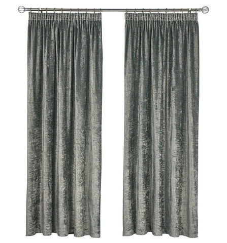 SILVER CHARCOAL CRUSHED VELVET PAIR TAPE TOP READY CURTAINS - MACHINE WASHABLE - Kellyuk