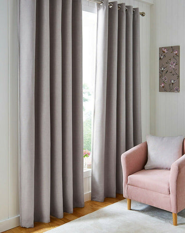 Blackout Textured Woven Linen Effect Pair Of Ring Top Natural Thermal Curtains - Kellyuk
