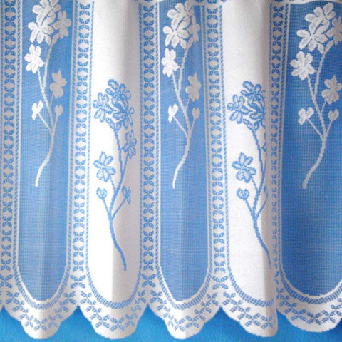 Floral Panel Jacquard White Net Curtain With Scalloped Bottom SOLD BY THE METRE - Kellyuk