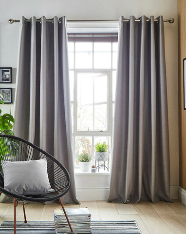 Libby Blackout Linen Effect Pair Of Easy To Hang Ring Top Thermal Curtains *NEW* - Kellyuk