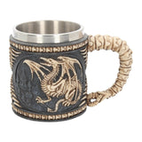 Black Dragon Fossil Bones 15cm Beer Ale Tankard - Skeletal Dragon Tail Handle - Kellyuk