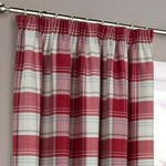 Highland Faux Wool Wine Red Multi Checked Tartan Tape Top Pair Of Lined Curtains - Kellyuk