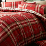 Catherine Lansfield Kelso Red Tartan Checked Highland Duvet Cover Coverlet Set - Kellyuk