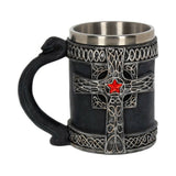Medieval Cross With Red Jewel 14.4cm Beer Ale Tankard - Middle Ages Gothic Cross - Kellyuk